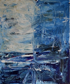 Blue begginning, 50x60cm Acrylic on canvas, SEK 5000,00