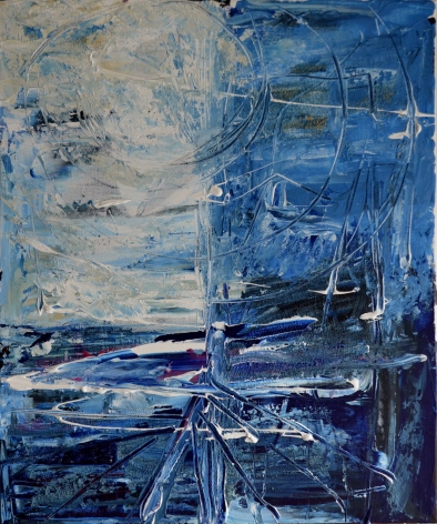 Blue begginning, 50x60cm Acrylic on canvas, SEK 5000,00