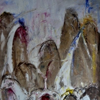 Dancing mountains, 80x100cm Oil and pebbles on canvas, SEK 18 000,00