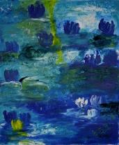 Floating lillies, 70x50cm Acrylic on canvas, SEK 6000,00