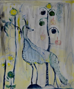 Four legged bird, 50x60cm Acrylic on canvas, SEK 5000,00