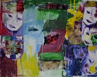 Together, 80x100cm Oil and fabric on canvas, SEK 18 000,00
