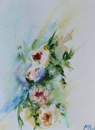 Rushing bouquet, 15x10cm in A4 cardboard passepartout, watercolor on paper, SEK 1500,00