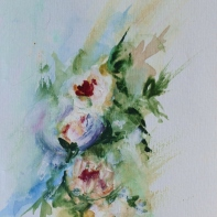 Rushing bouquet, 15x10cm in A4 cardboard passepartout, watercolor on paper, SEK 1500,00
