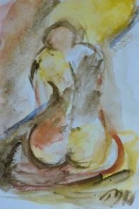 Feet in soil, 15x10cm in A4 cardboard passepartout, watercolor on paper, SEK 1500,00