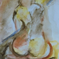 Feet in soil, 15x10cm in A4 cardboard passepartout, watercolor on paper, SEK 1500,00