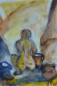 Busy pots, 15x10cm in A4 cardboard passepartout, watercolor on paper, SEK 1500,00