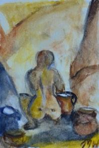 Busy pots, 15x10cm in A4 cardboard passepartout, watercolor on paper, SEK 1500,00