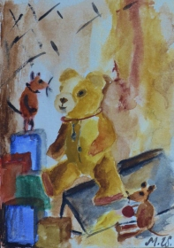 Happy room, 15x10cm in A4 cardboard passepartout, watercolor on paper, SEK 1500,00