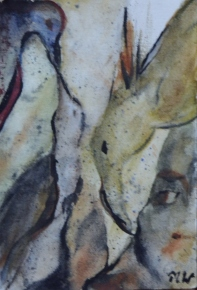 Family, 15x10cm in A4 cardboard passepartout, watercolor on paper, SEK 1500,00