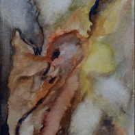 Fleeing, 15x10cm in A4 cardboard passepartout, watercolor on paper, SEK 1500,00