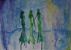 Floating in serenity, 30x42cm Watercolor and acrylic on paper in 70x50cm cardboard passepartout, SEK 4000,00