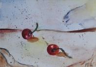 Friends, 15x10cm in A4 cardboard passepartout, watercolor on paper, SEK 1500,00