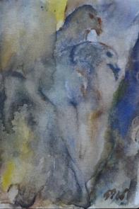 Living dreams, 15x10cm in A4 cardboard passepartout, watercolor on paper, SEK 1500,00