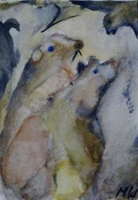 Rats nest, 15x10cm in A4 cardboard passepartout, watercolor on paper, SEK 1500,00