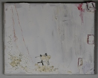 White washed, 30x25cm, Oil, pebbles, fabric, steel wire on canvas SEK4000,00